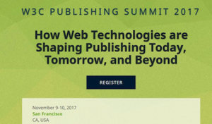 W3C Publishing Summit banner
